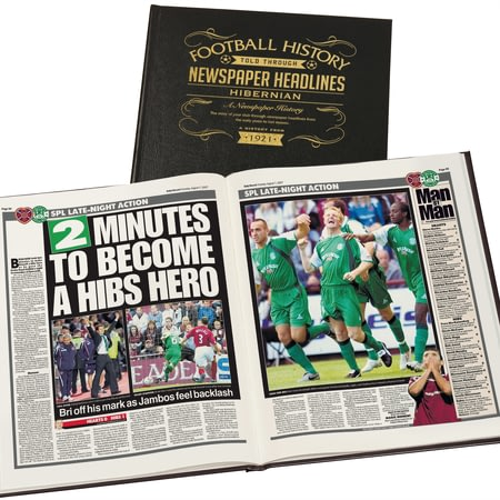 Personalised Hibernian Football Newspaper Book - Leather Cover