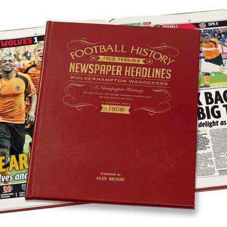 Personalised Wolverhampton Wanderers Football Newspaper Book - Leather Cover