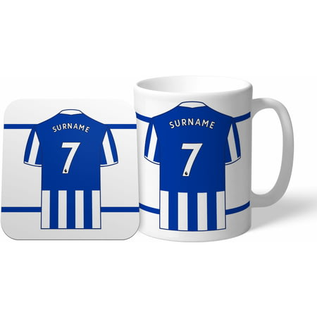 Personalised Brighton & Hove Albion FC Shirt Mug & Coaster Set