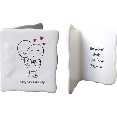 Personalised Chilli & Bubbles Valentines Ceramic Message Card