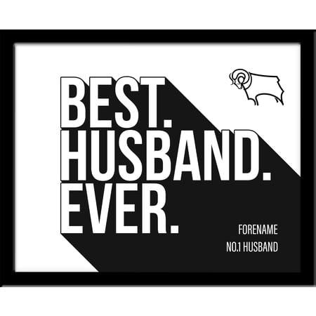 Personalised Derby County Best Husband Ever 10x8 Photo Framed