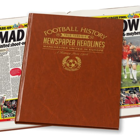 Personalised Manchester Utd In Europe Football Newspaper Book - Leatherette Cover