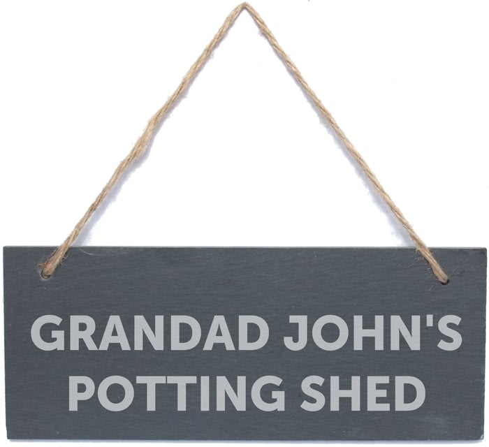 Personalised Bold Hanging Slate Plaque Garden Shed Sign New Home Birthday Gift