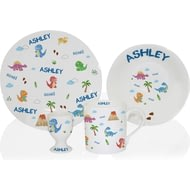 Personalised Dinosaur Ceramic 4 Piece Breakfast Set