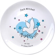 "Personalised Dove & Hearts Blue Baptism 8"" Coupe Plate"