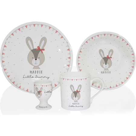 Personalised Little Bunny Pink Ceramic 4 Piece Breakfast Set