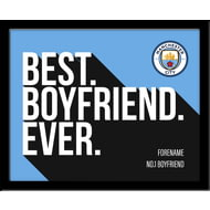 Personalised Manchester City Best Boyfriend Ever 10x8 Photo Framed