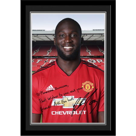 Personalised Manchester United FC Lukaku Autograph Photo Framed
