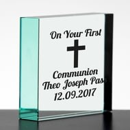 Personalised Holy Communion Glass Block
