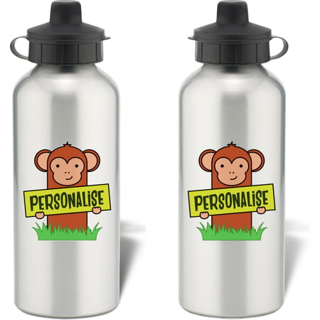 Personalised Kids Monkey Aluminium Water Bottle