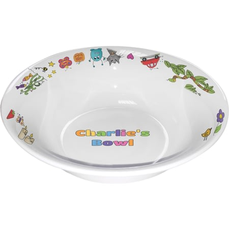Personalised Cartoon Character Childrens Bowl