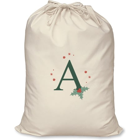 Personalised Holly Initial Cotton Christmas Santa Sack