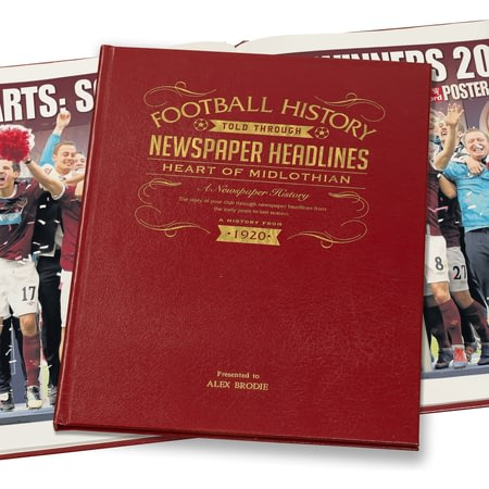 Personalised Hearts Football Newspaper Book - Leather Cover