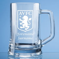 Personalised Aston Villa FC Crest Stern Glass Pint Tankard
