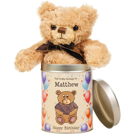 Personalised Birthday Teddy In A Tin