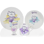 Personalised Nina Kitten Gymnast 4 Piece Breakfast Set