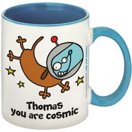 Personalised Cosmic Dog Blue Inside Mug