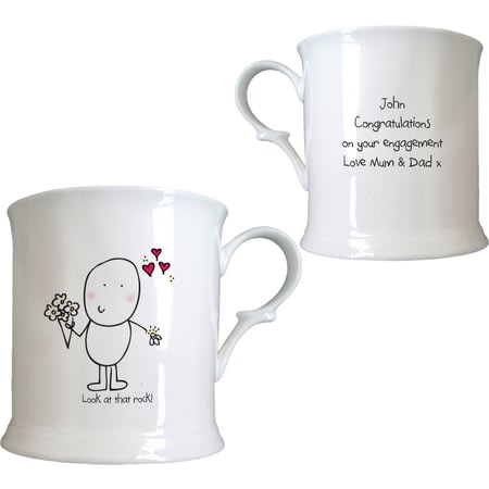 Personalised Chilli & Bubble's Engagement Half Pint Tankard