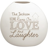 Personalised Love And Laughter Bone China Vase