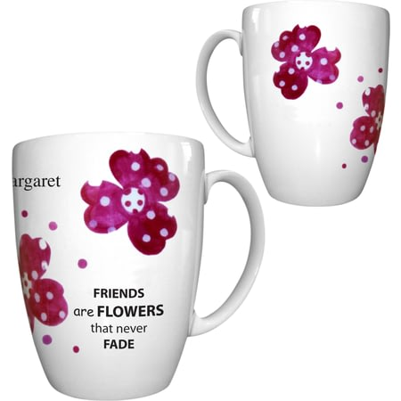 Personalised Pink Pansies Friend Conic Ceramic Mug