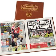 Personalised Sheffield United Football Newspaper Book - Leatherette Cover