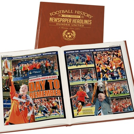 Personalised Dundee United Football Newspaper Book - Leatherette Cover
