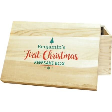 Personalised First Christmas Wooden Keepsake Box