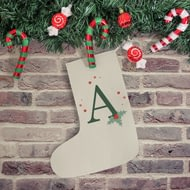 Personalised Holly Initial Christmas Stocking