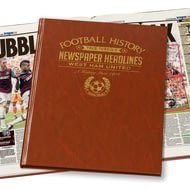 Personalised West Ham United Football Newspaper Book - Leatherette Cover