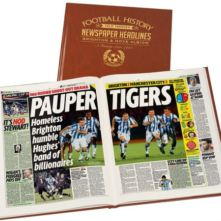 Personalised Brighton Football Newspaper Book - Leatherette Cover