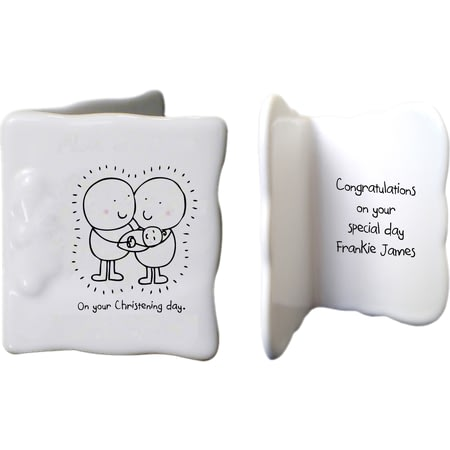 Personalised Chilli & Bubbles Christening Ceramic Message Card