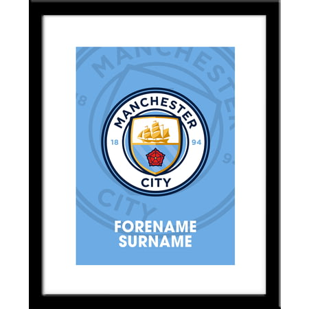Personalised Manchester City FC Bold Crest Framed Print