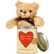 Personalised Valentine's Day Teddy In A Tin - Words