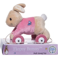 Personalised Peter Rabbit Flopsy Girls Pink Pull Along Toy