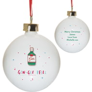 Personalised HotchPotch Gin-gle Bells Christmas Ceramic Bauble