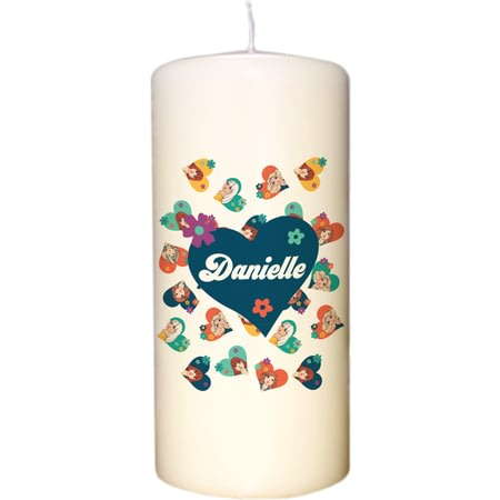 Personalised Jackie 'Ditsy Heart' Pillar Candle