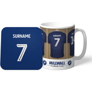 Personalised Millwall FC Dressing Room Shirts Mug & Coaster Set