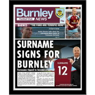Personalised Burnley FC Spoof Newspaper Framed Print