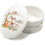 Personalised Woodland Animals Scene Ceramic Trinket Box