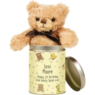 Personalised Nursery Scene Teddy In A Tin