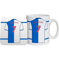 Personalised Blackburn Rovers FC Shirt Mug & Coaster Set
