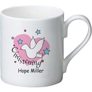 Personalised Dove & Hearts Pink Christening Ceramic Mug
