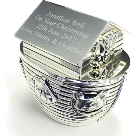 Personalised Engraved Silver Noah's Ark Money Box