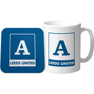 Personalised Leeds United FC Monogram Mug & Coaster Set