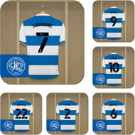Personalised Queens Park Rangers FC Dressing Room Shirts Coasters Set of 6