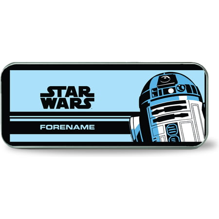 Personalised Star Wars R2 D2 Pop Art Silver Pencil Tin
