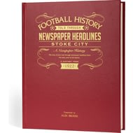 Personalised Stoke City Football Historic Newspaper Book - Leather Cover