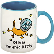 Personalised Cosmic Kitty Blue Inside Mug