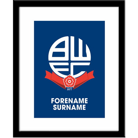 Personalised Bolton Wanderers FC Bold Crest Framed Print