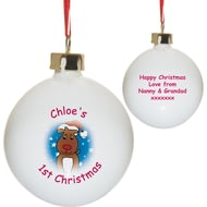 Personalised 1st Christmas Reindeer Ceramic Tree Bauble